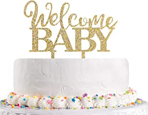 Welcome Baby Cake Topper,Gold Glitter Baby Shower,Baby Boy Girl 1st 2nd 3rd Birthday Party Decoration Supplies(Acrylic)