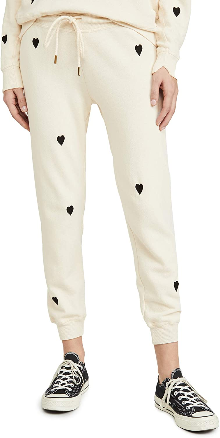 Womens The Cropped Sweatpants with Heart Embroidery THE GREAT