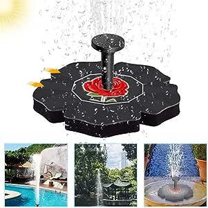 Fuente Solar con Bateria, 1.4 W Flotante Kit Bomba Agua Solar, Fuente Solar para Estanque, Jardin, Pajaro: Amazon.es: Deportes y aire libre