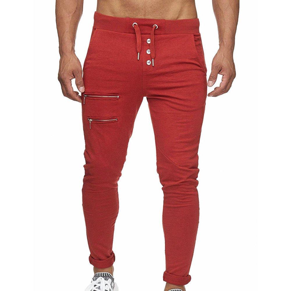 Pantalones Casuales para Hombre,Hombres Overoles Skinny Casuales Bolsillo Pantalones de Trabajo pantal/ón b/ásicos Deportivos Gimnasio Jogging Pantalones