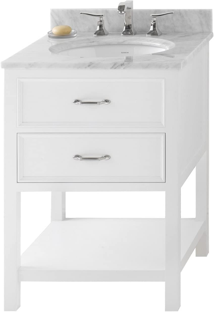 Amazon Com Ronbow Newcastle 25 Inch Bathroom Vanity Set In White Bathroom Vanity With Top In White Marble Bathroom Vanity Cabinet With Soft Close Drawers White Oval Ceramic Vessel Sink 052724 W01 Kit 1 Kitchen