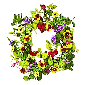 Worth Imports Mixed Wreath with Pansy, 22 Inch, Multicolor 108