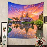Keshia Dwete Custom tapestry landmark wat thai sunset in temple at wat none kum in nakhon ratchasima province thailand