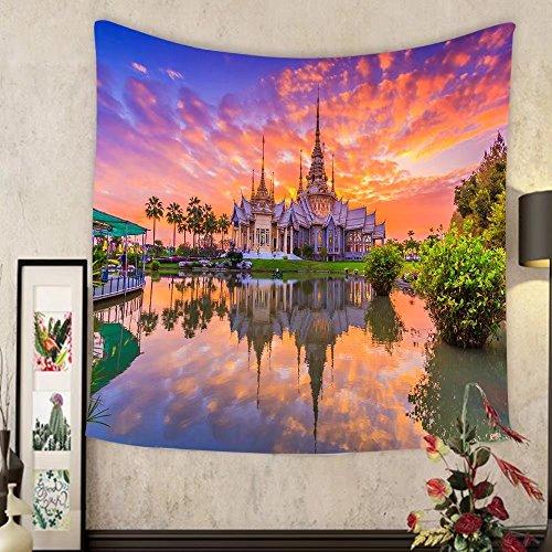Keshia Dwete Custom tapestry landmark wat thai sunset in temple at wat none kum in nakhon ratchasima province thailand by Keshia Dwete