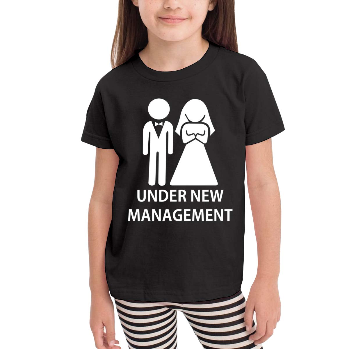 Under New Management Novelty Cotton T Shirt Personality Black Tee for Toddler Kids Boys Girls
