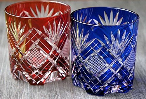 Japanese Edo-Kiriko (Cut Glass) Old Pair 9.3oz, Kenbishi-Nanako Pattern,Red & Blue by KIMOTO GLASSWARE
