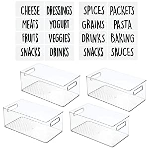 """mDesign Deep Plastic Kitchen Storage Organizer Container Bin with Identification Labels & Handles for Pantry, Cabinets, Shelves, Refrigerator, Freezer - 14.5"""" Long, 4 Pack - Clear"""
