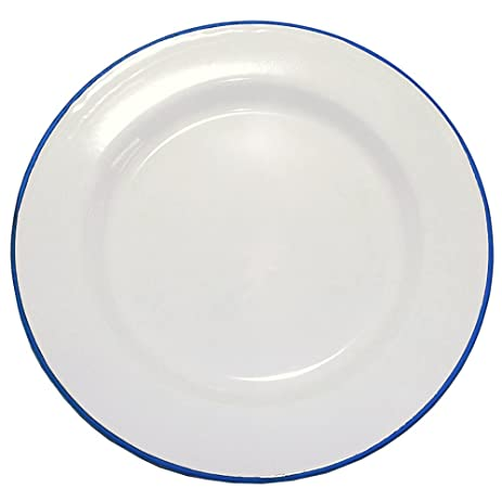 Enamelware 12 Inch Buffet Plate - Blue Rim  sc 1 st  Amazon.com : buffet plates set of 12 - pezcame.com