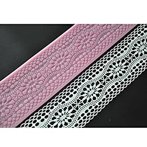 FOUR-C Cake Tools Decorating Cake Mould Silicone Lace Mat for Sugar Craft Color Pink