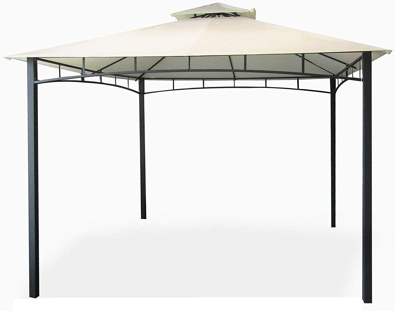 Eurolandia® - Cenador-gazebo de jardín de 3 x 4 metros con lona impermeable color crudo, en metal y hierro gris oscuro, anticorrosión y doble techo cortavientos, palos portantes de 6 x 6