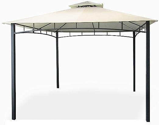 Eurolandia® - Cenador-gazebo de jardín de 3 x 4 metros con lona impermeable color crudo,