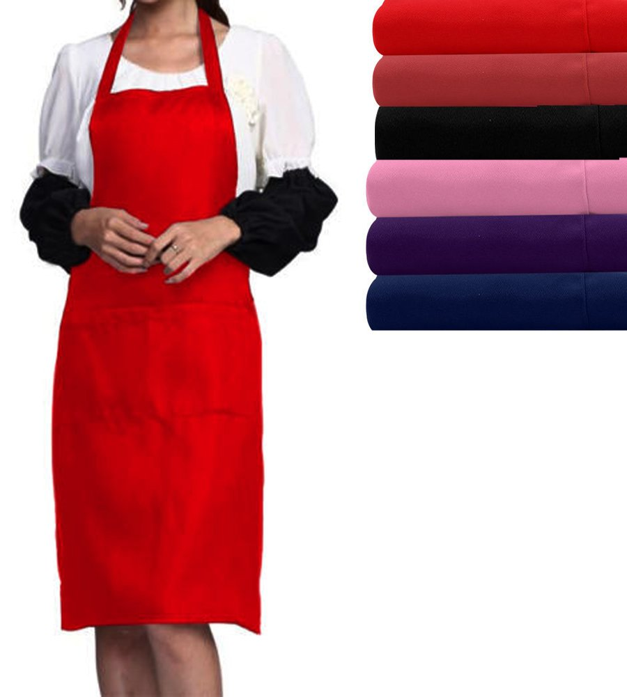 6 Colors Unisex Chefs Butchers Kitchen Cooking Craft Baking Apron with Two Front Pocket