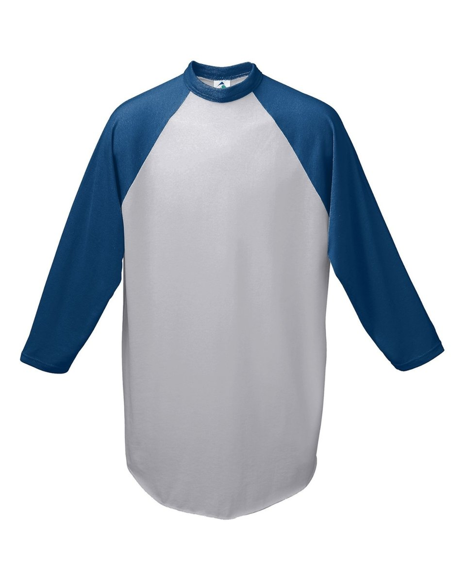Augusta Sportswear Men's Baseball Jersey, Athletic Heather/Navy, Small by Augusta Sportswear