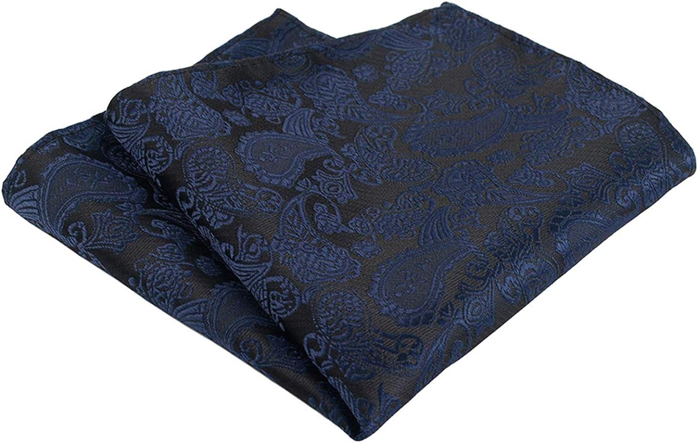 MOHSLEE Men Royal Blue Striped Banquet Suit Tie Handky Necktie Pocket Square Set