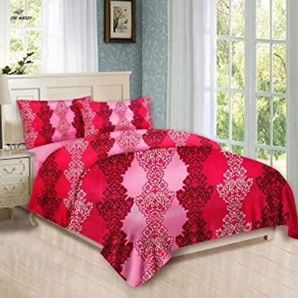 Bombay Dyeing Felix 136 TC Microfibre Double Bedsheet with 2 Pillow Covers - Pink