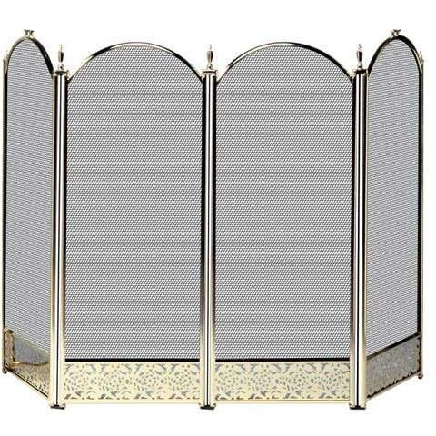 4 Panel Fireplace Screens (UniFlame S-2115 4 Fold Polished Brass Fireplace Screen with Decorative Filigree)