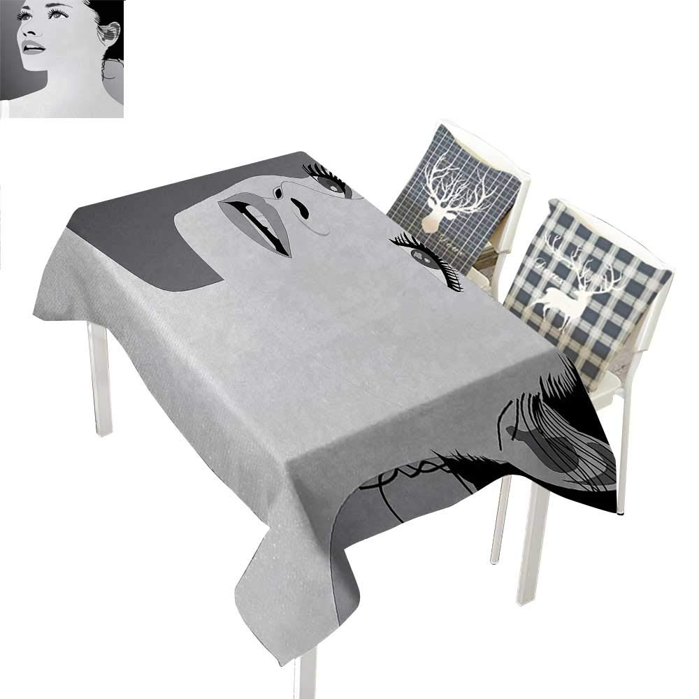 All of better Girls Dining Table Cover Young Gentle Woman with Make Up Looking in Digital Stylized She Artsy Graphic PrintBlack Grey Rectangle Tablecloth W60 xL102 inch