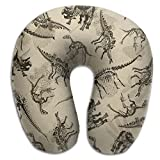 U Shaped Travel Pillow Dinosaurs Antique Memory Foam Soft Neck Portable Pillow For Flight Train Car And Office Naps Bed Pillows
