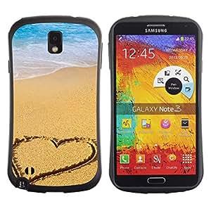 """Hypernova Slim Fit Dual Barniz Protector Caso Case Funda Para Samsung Note 3 [Corazón de la playa""""]"""