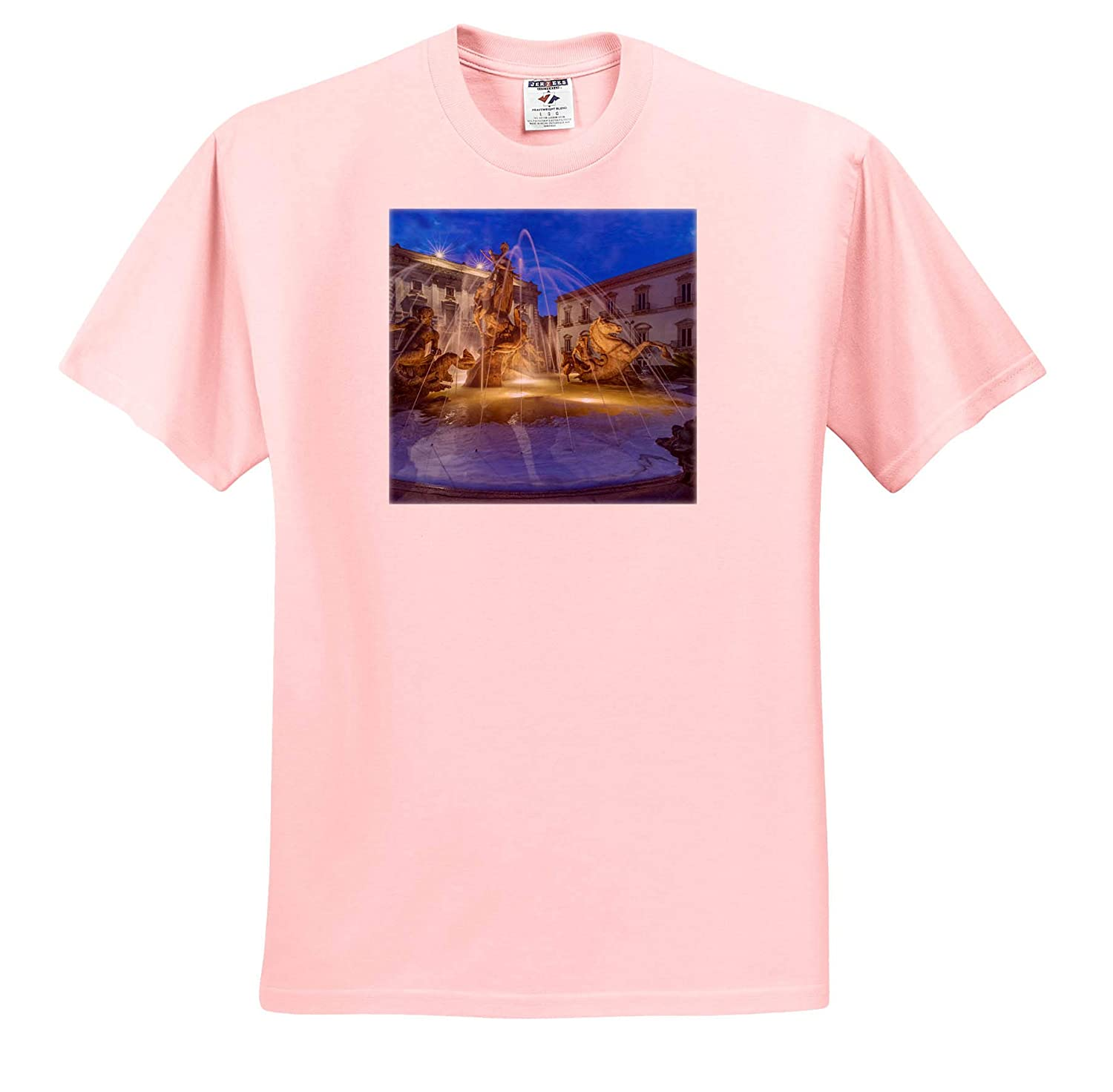 Syracuse Adult T-Shirt XL ts/_313746 Sicily Europe 3dRose Danita Delimont Italy Sicily Twilight Piazza Archimede