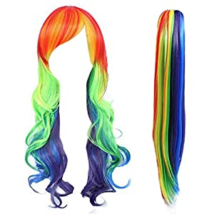 Anogol Hair Cap+Long Rainbow Wavy Cosplay Wigs for Bar Party Halloween Costume with One Ponytail