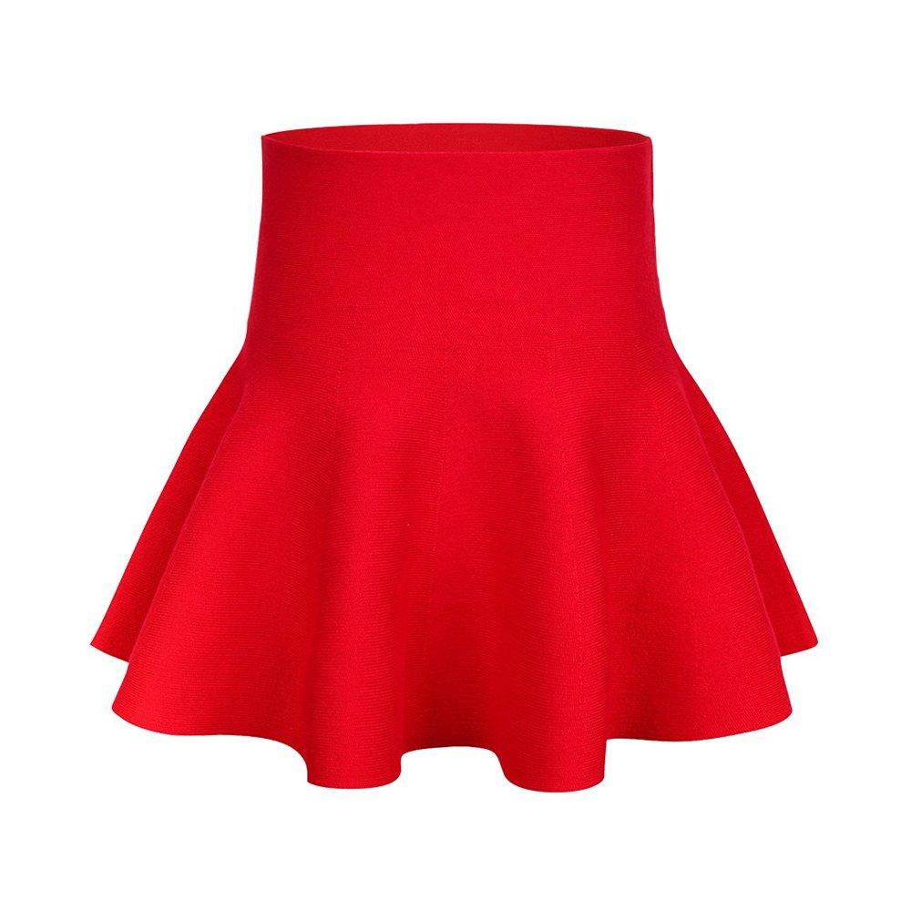 Mesinsefar Little Big Girls' High Waist Knitted Flared Pleated Skater Skirt Casual Red Tag 120cm-47(5-6Y) by Mesinsefra