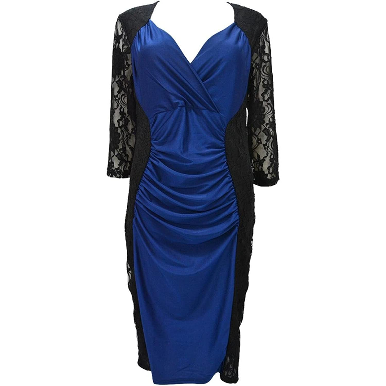 Eshock@ Plus Size Women Lace Bodycon Bandage Evening Party Mini Dress