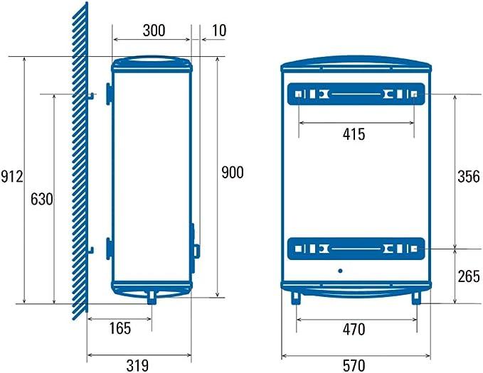 Cata|Termo eléctrico 50 L|Doble tanque|Calentador de agua modelo CTRS-50-REV SLIM| Instalación horizontal y vertical| Tanque esmaltado al titanio vitrificado a 850° C| 860 x 470 x 250 mm: Amazon.es: Bricolaje y herramientas