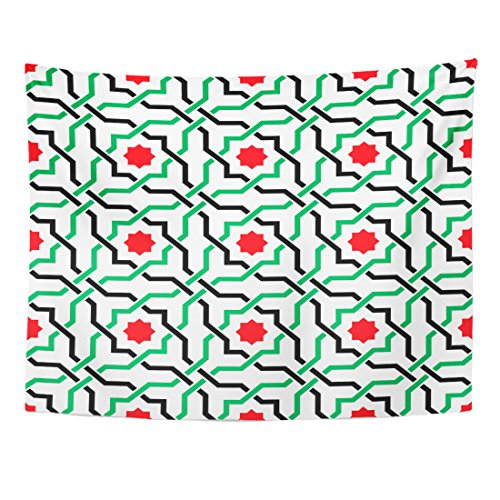(Emvency Tapestry Green of Geometric Arabic Pattern in UAE Flag Colors Home Decor Wall Hanging for Living Room Bedroom Dorm 60x80 Inches)