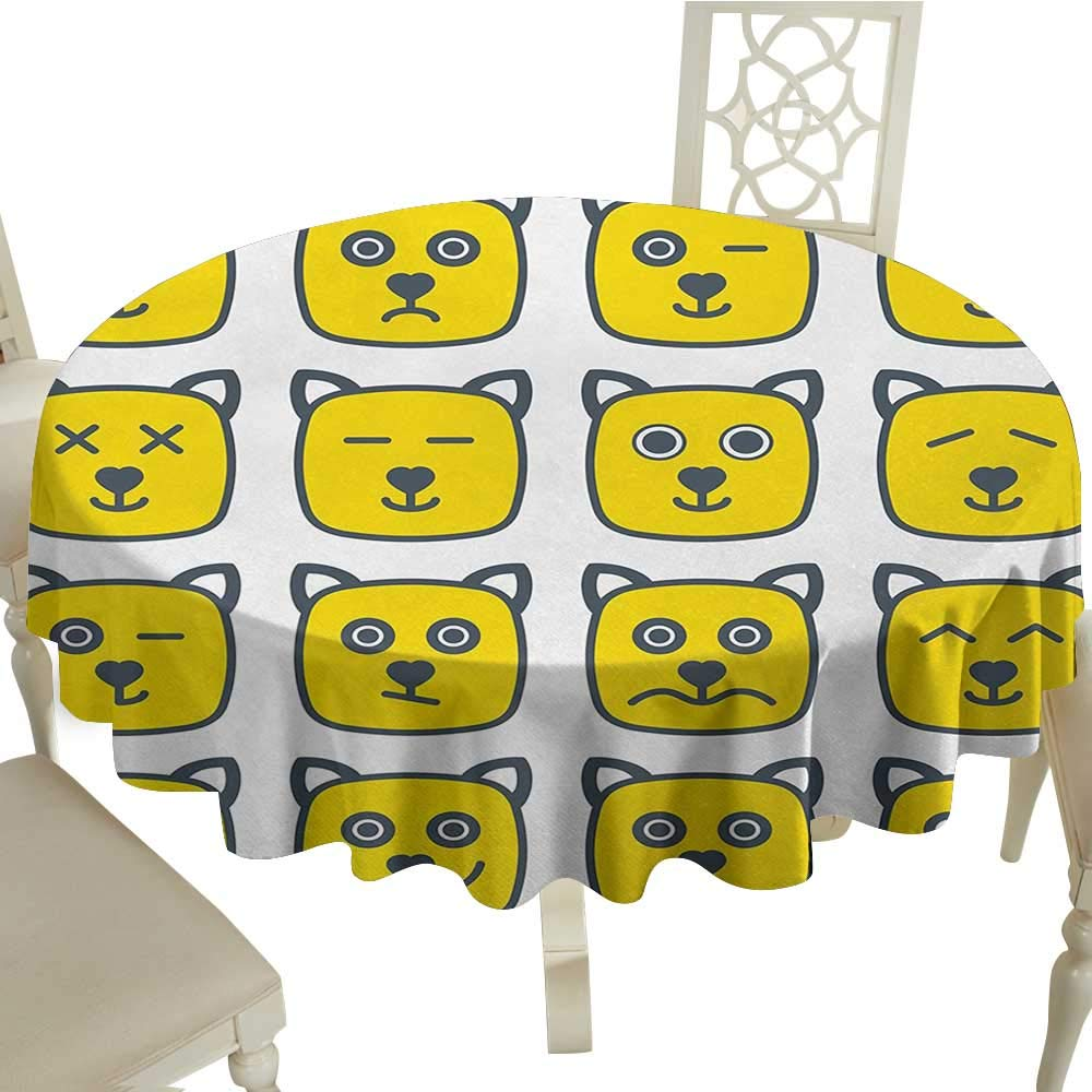 Swell Amazon Com White Round Tablecloth Emoji Cat Dog Like Animal Squirreltailoven Fun Painted Chair Ideas Images Squirreltailovenorg