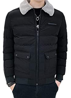 Jotebriyo Men Thickened Winter Zip Front Mid Length Hooded Down Quilted Coat Jacket Outerwear
