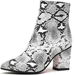 34fdb59a518 ASILETO Women Snakeskin Pattern Ankle Boots Pointed Toe Zip Mid Block  Square 7cm high Heels Spring