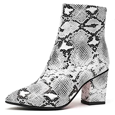 2a6be595a2 ASILETO Women Snakeskin Pattern Ankle Boots Pointed Toe Zip Mid Block  Square 7cm high Heels Spring