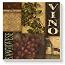 CounterArt Wine Labels Collage Absorbent Coasters, Set of 4