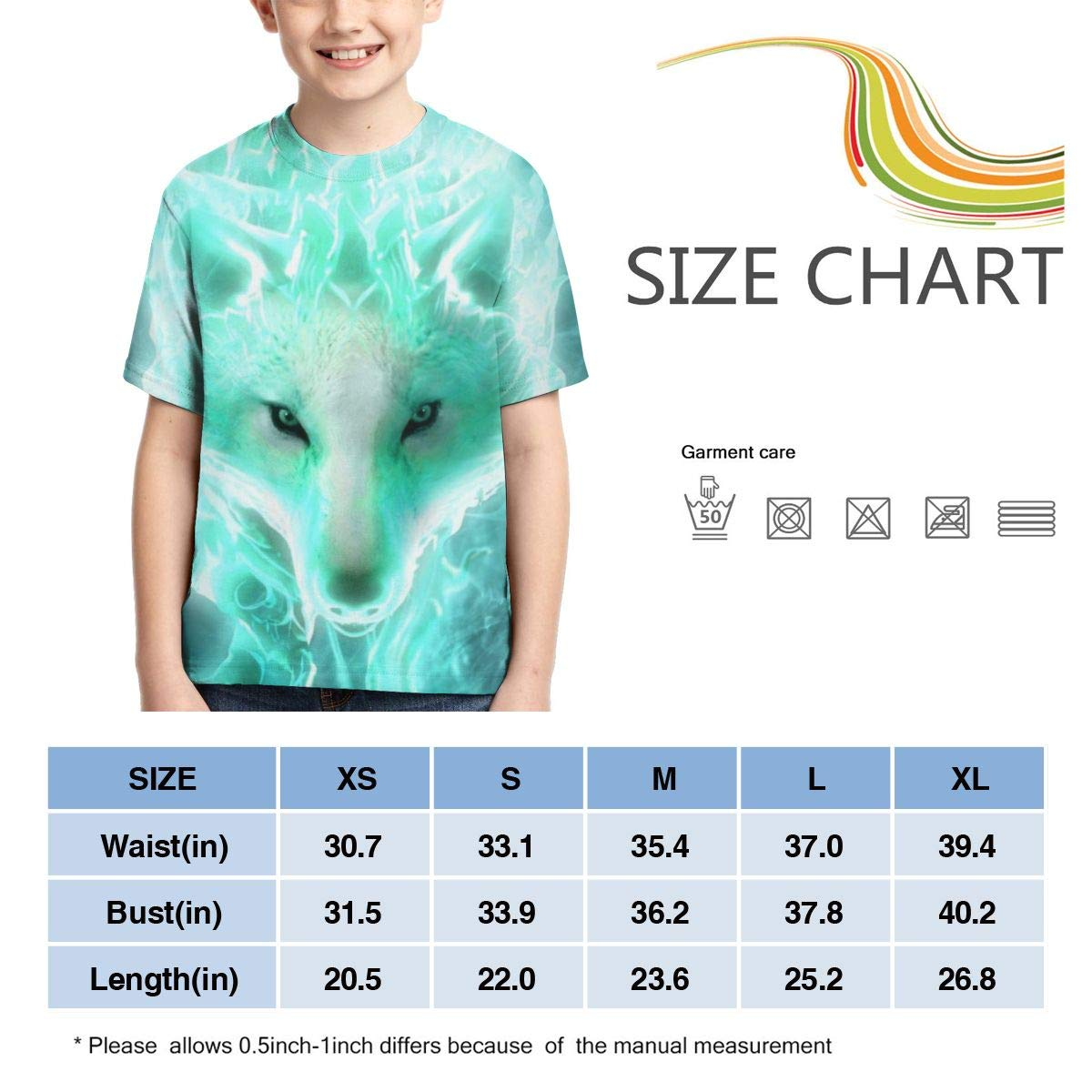 Traci StoneN Kid//Youth Cool Wolf T-Shirts 3D Print Short Sleeve Graphics Tees for Boys