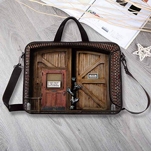 "Zombie Decor Anti-Seismic Neoprene Laptop Bag,Monsters Behind Wooden Door Demon Halloween Fear Fantasy Picture Decorative Laptop Bag for Travel Office School,14.6""L x 10.6""W x 0.8""H ()"