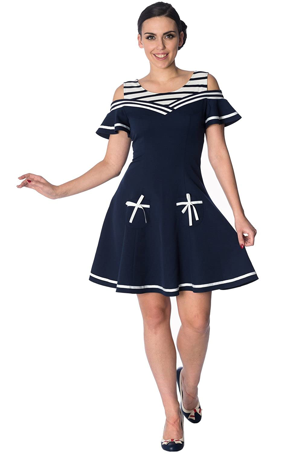 Sailor Dresses, Nautical Theme Dress, WW2 Dresses Banned Set Sail 2 Fer Vintage Nautical Dress $66.95 AT vintagedancer.com
