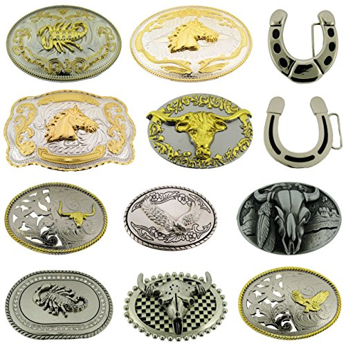 Wholesale Lot Belt Buckles 12 Pcs Bull Eagle Horse Horseshoe Western Scorpions from Generic