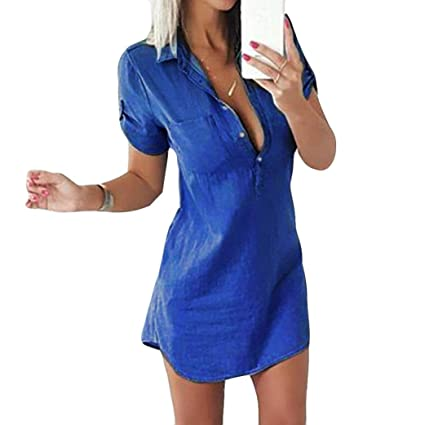deacf0ee052 Image Unavailable. Image not available for. Color: Snowfoller Denim Short  Sleeve T-Shirt Dress, Sexy Women Turn-down Collar Button