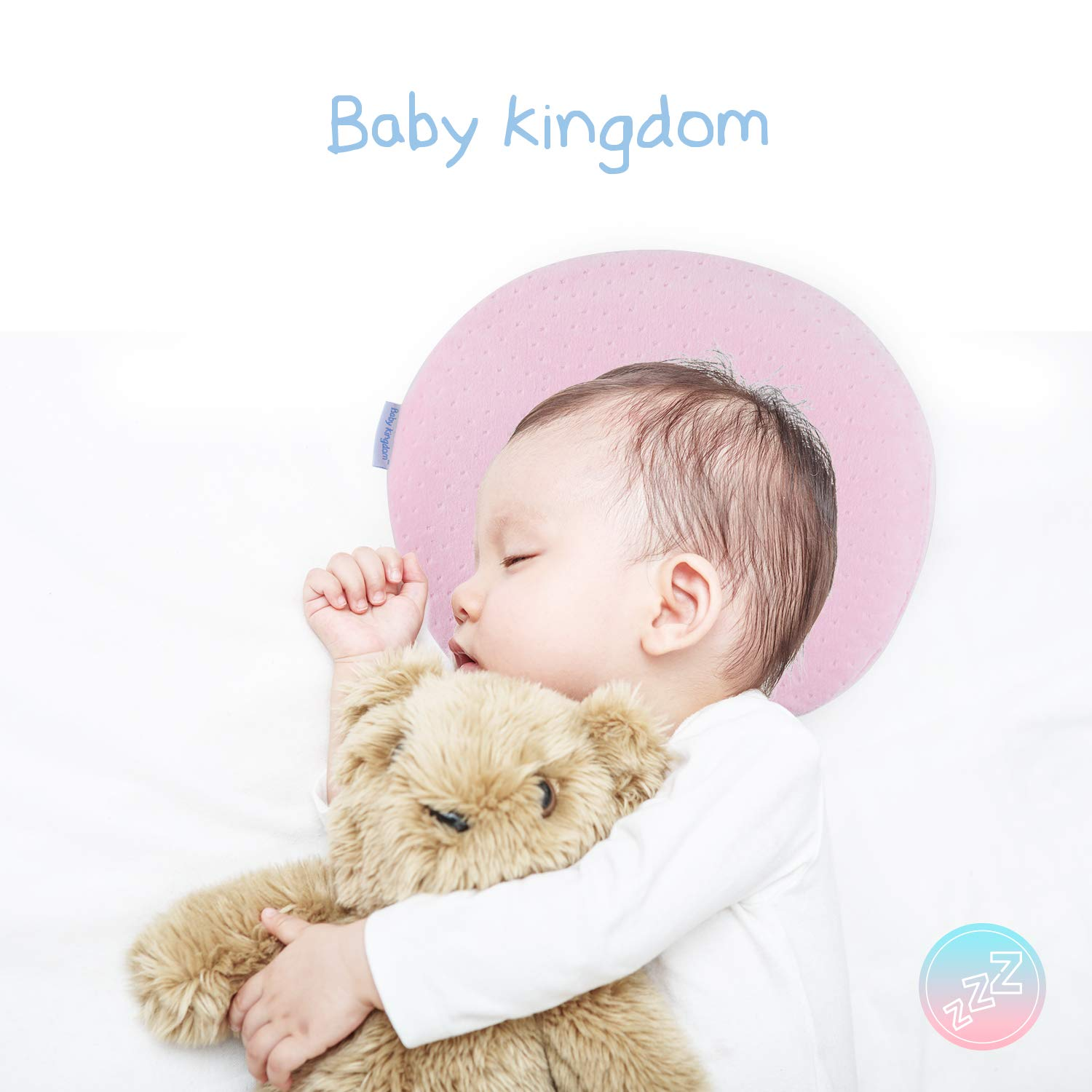 BBKD Baby Pillow | Infants Newborn Head Shaping Pillow|Prevent Flat Head Syndrome | Made of Memory Foam and Comes with 2 Cotton Pillowcases | Baby Shower & Registry Gift (Pink)