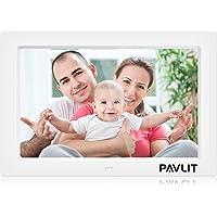 Cadre Photo numérique de 10 Pouces, Lecteur vidéo vidéo Mp3 avec Cadre de Photo électronique PAVLIT IPS HD avec capteur de Mouvement, réveil de la télécommande du Calendrier, Support de Carte SD
