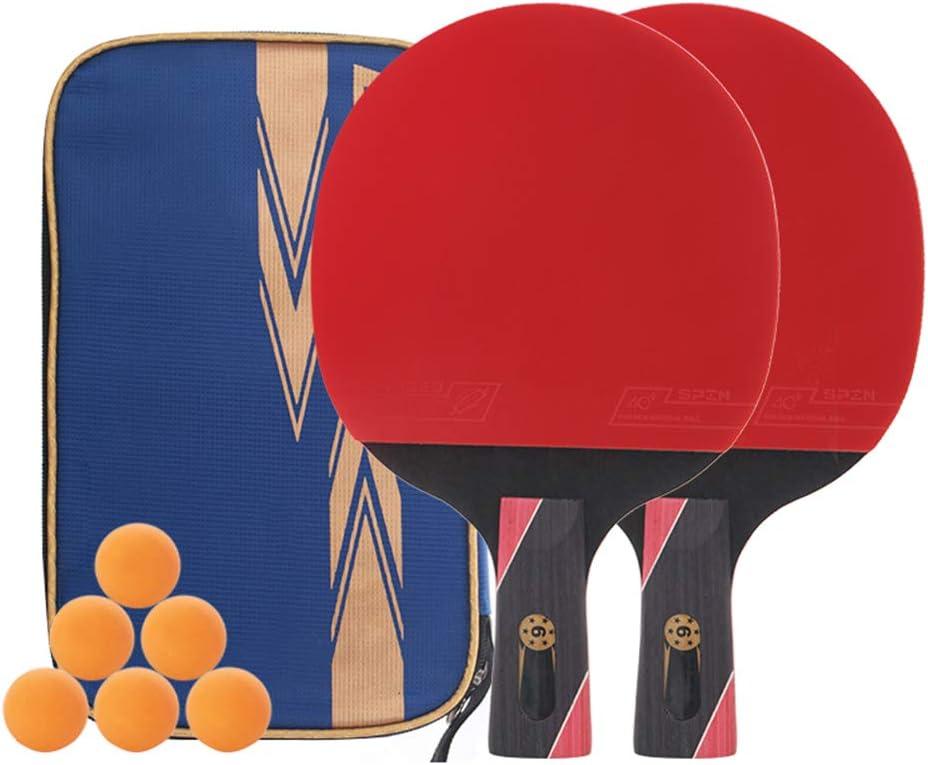 DGYAXIN Palas Ping Pong, Table Tennis Set Placa Base de Carbono de 7 Capas Raqueta de 6 Estrellas Línea de Doble Cara de Goma 2 Raqueta y Mango cómodo de 6 Bolas Competición Deportiva Escolar