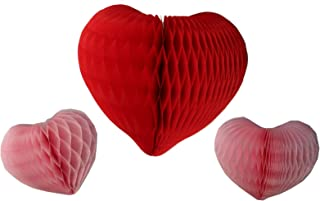 product image for Set of 3 Honeycomb Tissue Paper Valentine's Heart Decorations (Red/Pink)