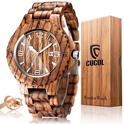 - CUCOL Mens Zebra Wood Watch Japanese Quartz Movement Date Display Lightweight Vintage Wristwatch Groomsman Gift