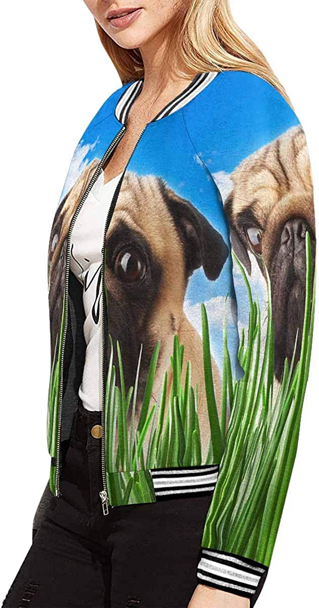 INTERESTPRINT Puppy Pug in The Grass Against The Sky Jacket Long Sleeve Zipper