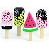Childrens Wooden Play & Pretend Food Set, Play Popsicle Set! Wood Play Food Ice Cream Bar Set