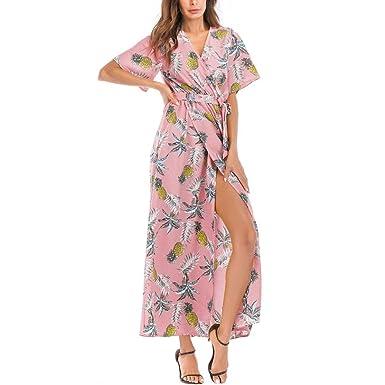 19124e8fec68 MRULIC Frauen Sommer böhmischen Tunika Floral Party Strand Lange Maxi Kleid  Sommerkleid