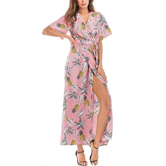 f27935df717062 MRULIC Frauen Sommer böhmischen Tunika Floral Party Strand Lange Maxi Kleid  Sommerkleid  Amazon.de  Bekleidung