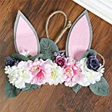Carto Girl Rabbit Ears Rose Peony Wreath Grass Rope Braided Hair Band Crown Artificial Flower Head Flower Head Flower Decoration E