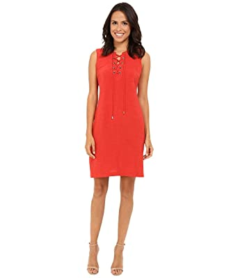 Christin Michaels Womens Vera Lace Up Shift Dress Sunset Orange